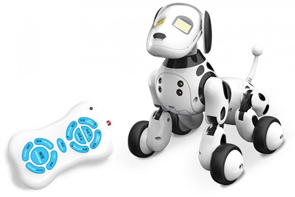 Радиоуправляемая собака-робот ZYA-A2917 двигается, глаза с эмоциями, общается на русском языке