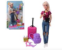 Кукла Defa 8389 путешественница с фотоаппаратом, чемоданом, рюкзаком и аксессуарами (2 вида) (высота 29 см)