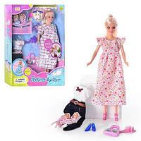 Вагітна лялька Defa 8009 в довгій сукні, з накладними животиком і двома малюками в пелюшках, два види