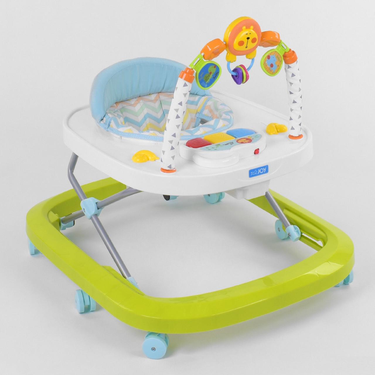 Ходунки для малыша со звуковой игровой панелью, мягким бампером и подвесками JOY W 41202, салатовый