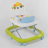 Ходунки для малыша со звуковой игровой панелью, мягким бампером и подвесками JOY W 41202, салатовый, фото 2