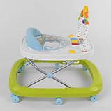 Ходунки для малыша со звуковой игровой панелью, мягким бампером и подвесками JOY W 41202, салатовый, фото 3