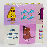 Разборной коврик-пазл для малышей Цифры EVA С 36624, не скользит, защищает от холода (4 элемента в упаковке)