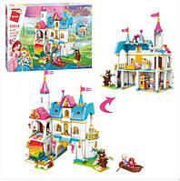 """Детский игровой конструктор для девочки Qman 32014 """"Замок принцессы"""" с мебелью и фигурками (605 деталей)"""
