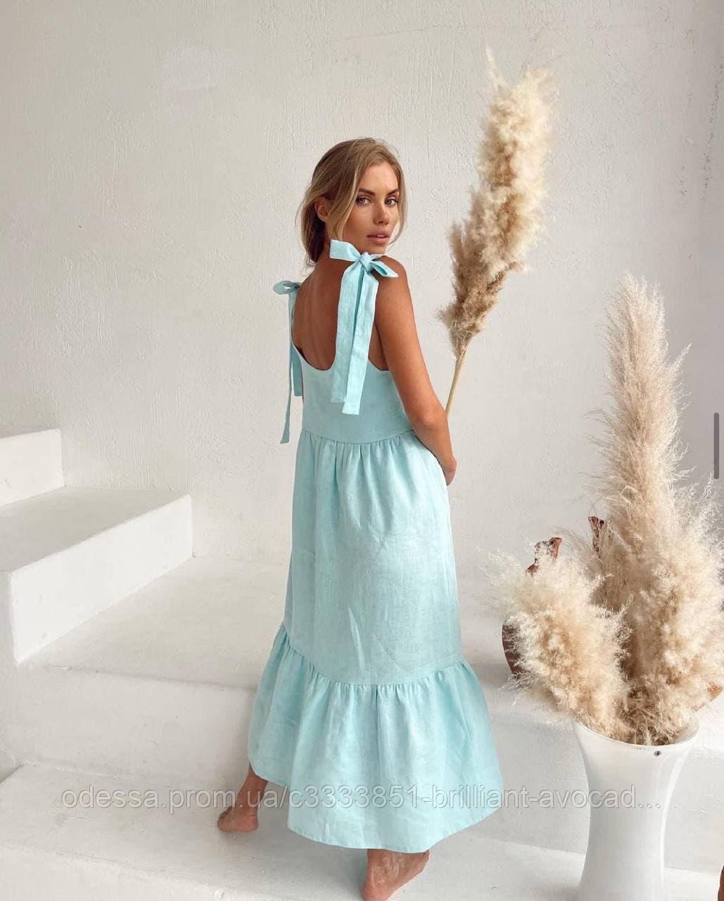 Женский летний длинный льняной сарафан с завязками на бретельках