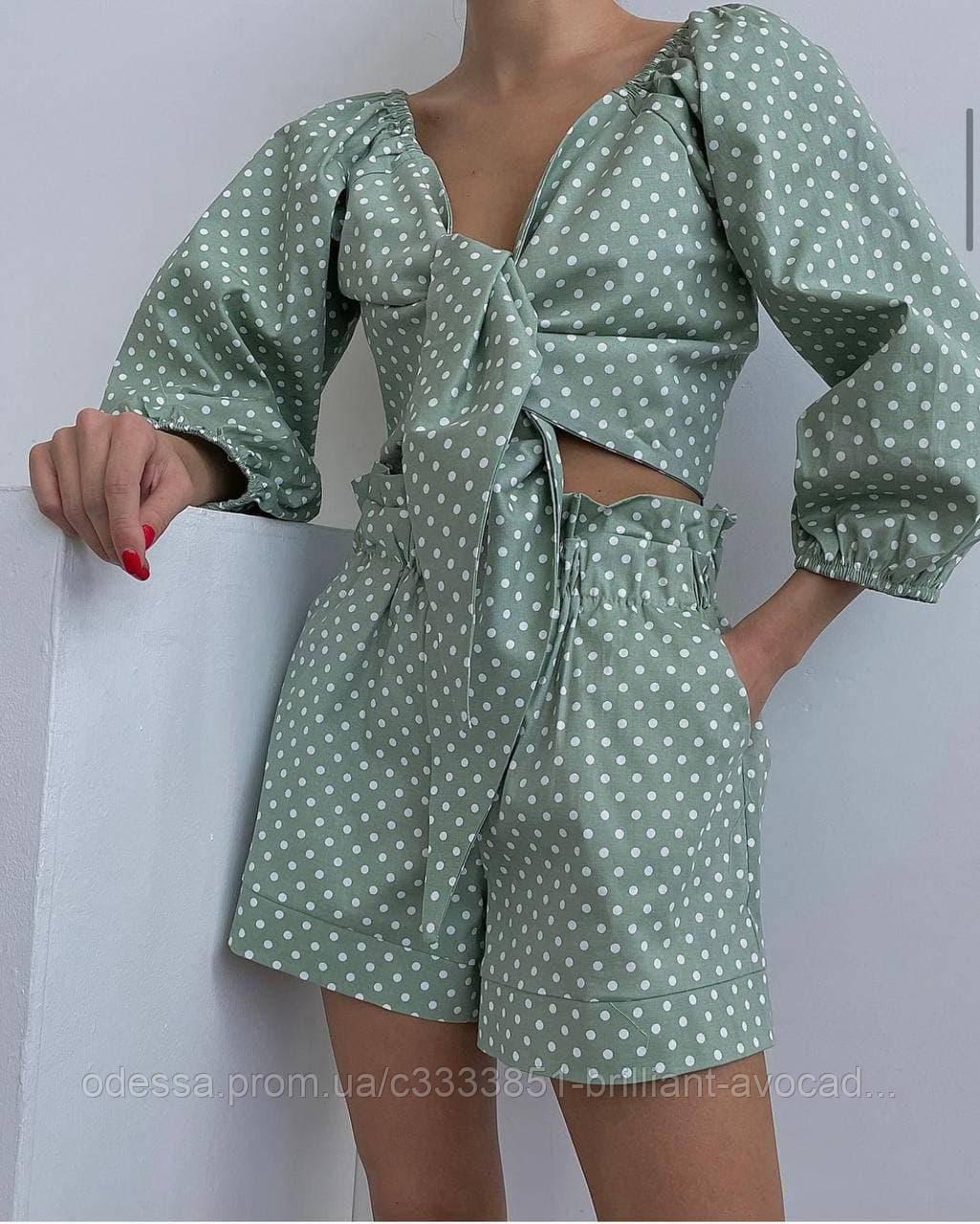 Жіночий літній модний костюм двійка (топ на зав'язці і шорти)