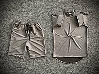 Мужской летний комплект оверсайз Футболка и Шорты темно-серые Повседневный летний спортивный костюм Турция