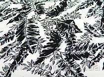 """Летняя ткань лён белого цвета """"Черные листья"""""""