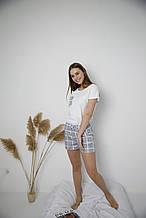 Пижама хлопковая,  серая в клетку, футболка и шорты