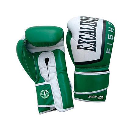 Перчатки боксерские Excalibur 529-03 Trainer (14 oz) белый/зеленый, фото 2