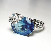 Кольцо с крупным голубым камнем медицинская сталь покрытие родий 19 размер, фото 1