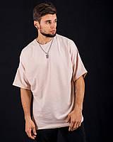 Спортивная футболка оверсайз DNK MAFIA бежевая. Оверсайз стиль.