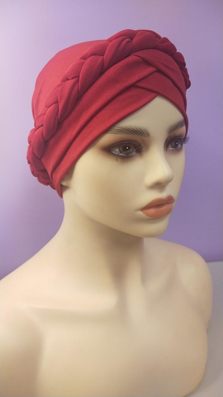Чалма красивая однотонная с косой объемной красная