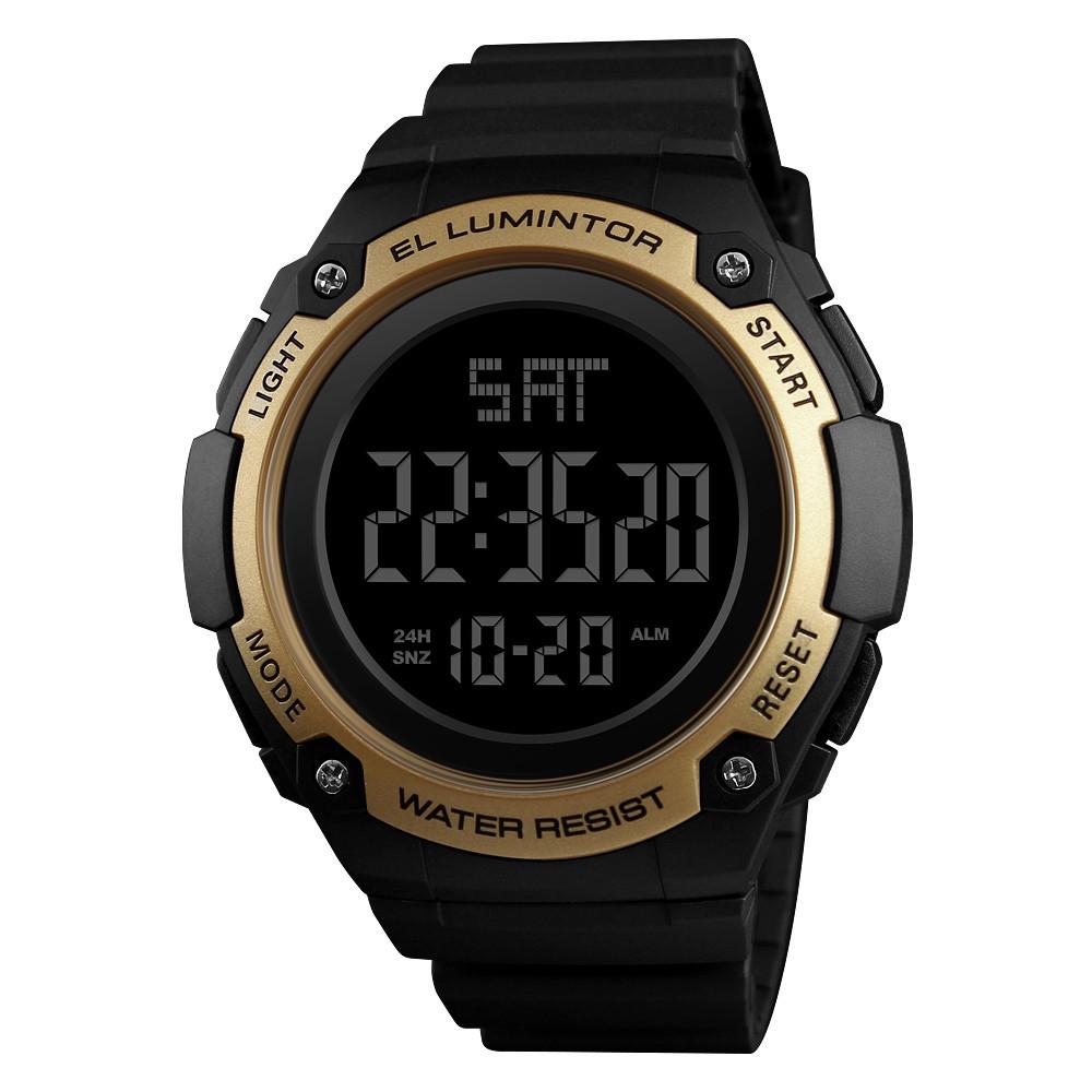 Skmei 1346  Черные с золотом мужские  спортивные часы