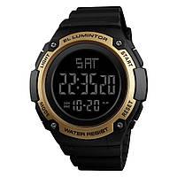Skmei 1346  Черные с золотом мужские  спортивные часы, фото 1