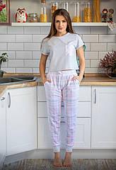 Піжама жіноча штани та футболка сіро-рожевого кольору ТМ Plum. S. M. L. XL