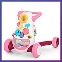 Детские ходунки-каталка 2 в 1 с музыкальными эффектами El Camino FD-6820-8 розовые