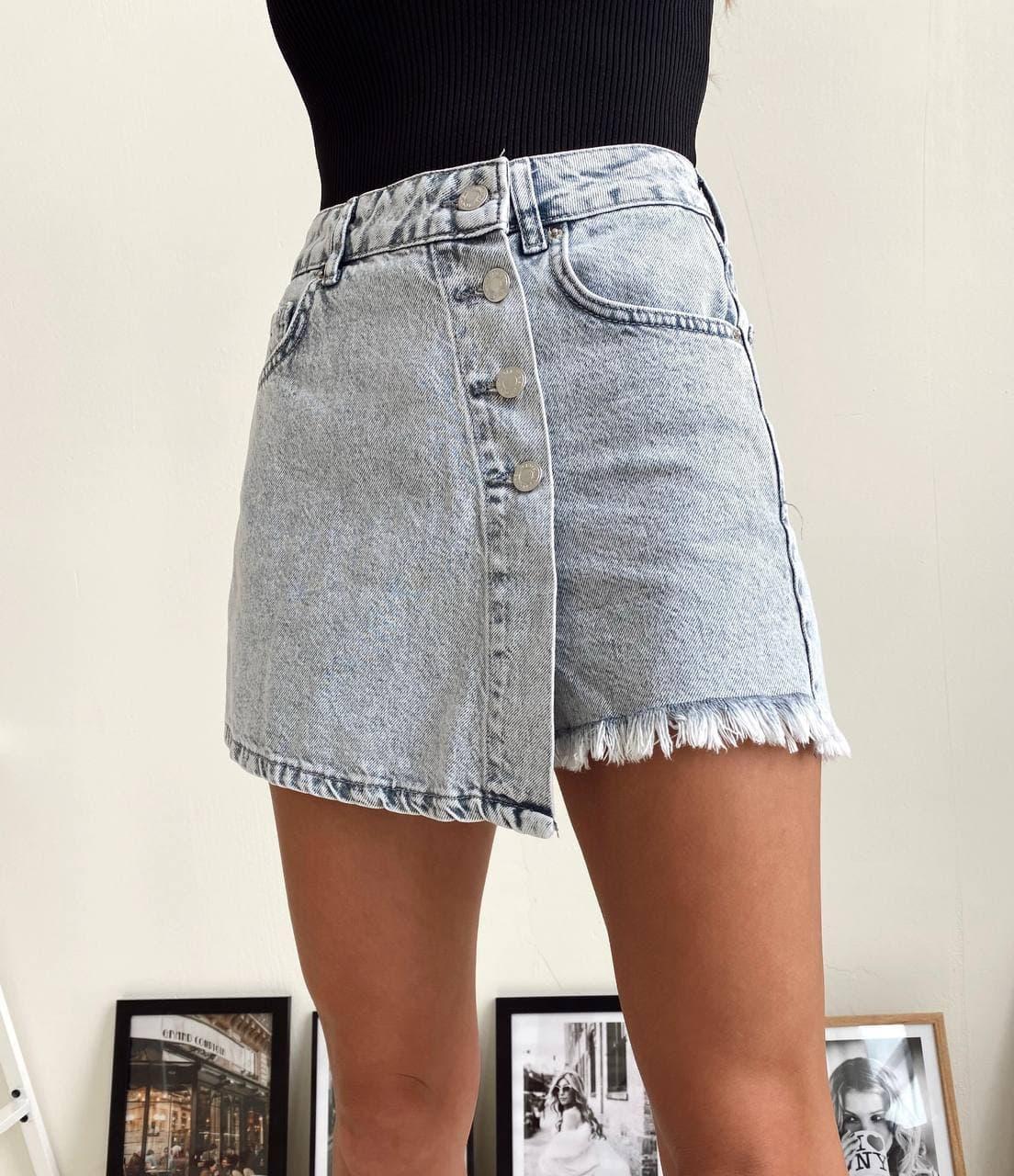 Джинсовая юбка шорты короткая с бахрамой и пуговицами (р. 34-42) 22wa482