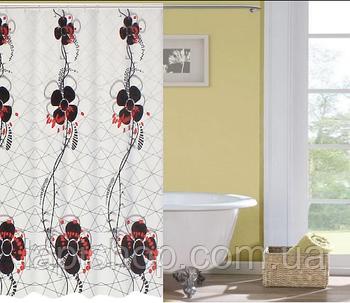 Занавеска в ванную 180*180 см с цветами Rota de flores