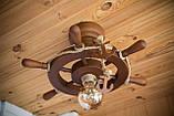 Люстра штурвал деревянная на 1 лампочку, фото 7
