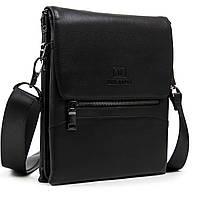 Мужская сумка через плечо кожаная Br.Ton BE black сумка на каждый день деловая, фото 1