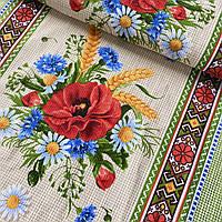 Вафельная ткань с маками, ромашками и васильками букетиком, ш. 50 см