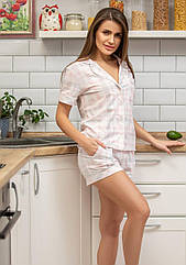 Піжама жіноча сорочка+шорти світло рожева клітинка. ТМ Plum. S. M. L. XL