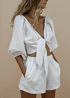 Женский стильный костюм, шорты и топ,ткань лен однотонный(42-46)