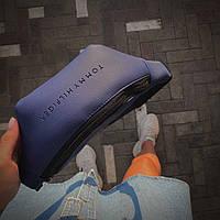 Бананка мужская/женская. Молодежная сумка на пояс эко-кожа синяя 29х12х6 см