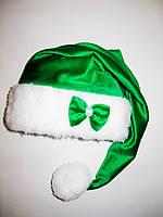Новогодняя шапка Эльфа Зеленая Деда Мороза Колпак Санта Клауса Santa Claus   удлиненная с бантиком