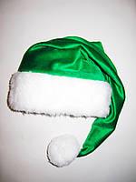 Новогодняя Шапка Детская Деда Мороза Колпак Санта Клауса Эльфа Зеленая  удлиненная.