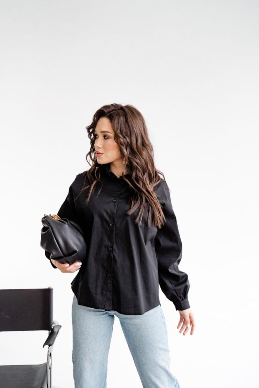 Чорна бавовняна сорочка без кишень