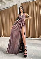 Блестящее платье макси из люрекса с верхом на запах и разрезом на ноге (р. S, M) 66mpl2462Е