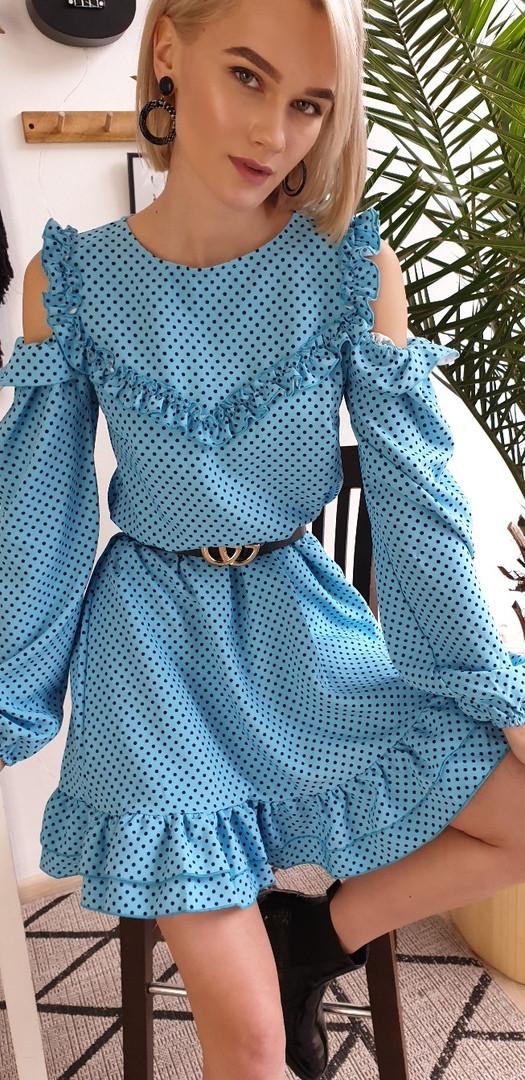 Сукня з відкритими плічками і рюшами