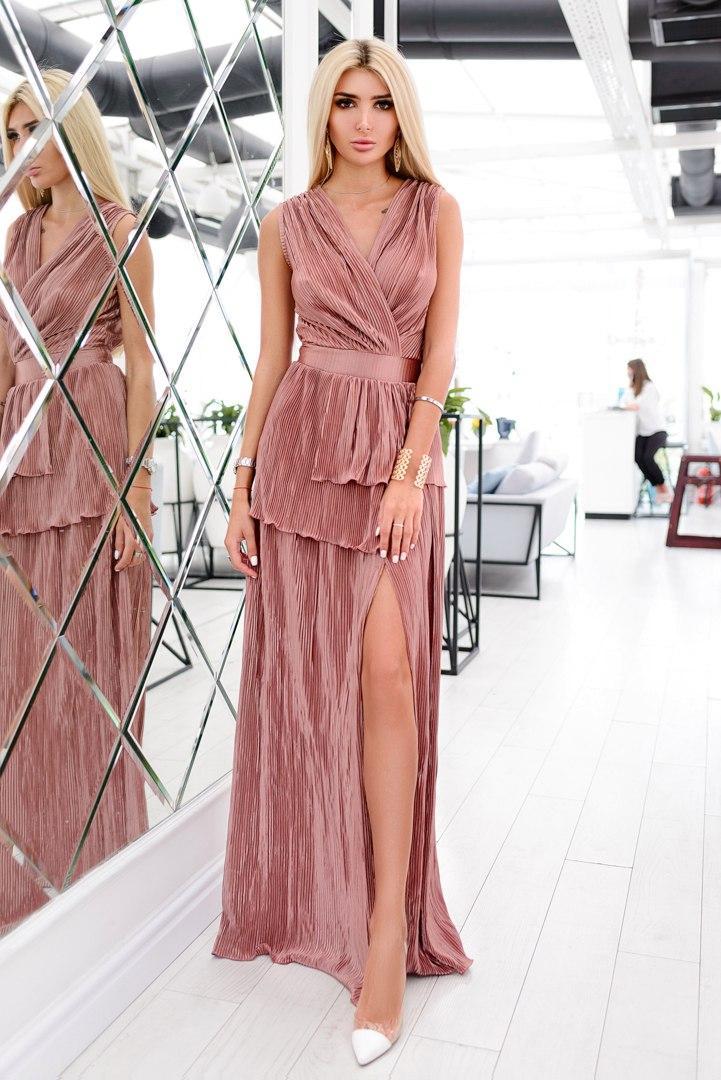 Платье гофре макси бронза