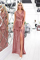 Платье гофре макси бронза, фото 1