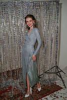 Длинное нарядное платье на запах голубого цвета, фото 1