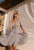 Легке сіре плаття на запах, фото 1