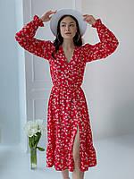 Квіткове плаття червоного кольору
