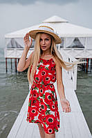 Літній сарафанчик червоного кольору квіти, фото 1
