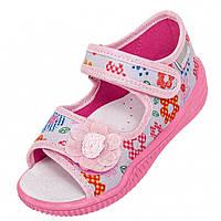 Тапочки Viggami Hania kwiatki szary рожеві для дівчинки 21