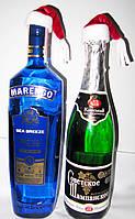Новогодний декор для бутылок.Шапка санта клауса для бутылки.