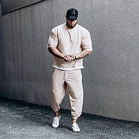Мужской спортивный костюм бежевый