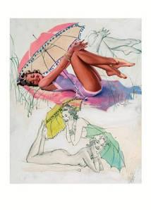 Листівка AL BUELL Pin-Up With Umbrella, Al Buell's Beauties