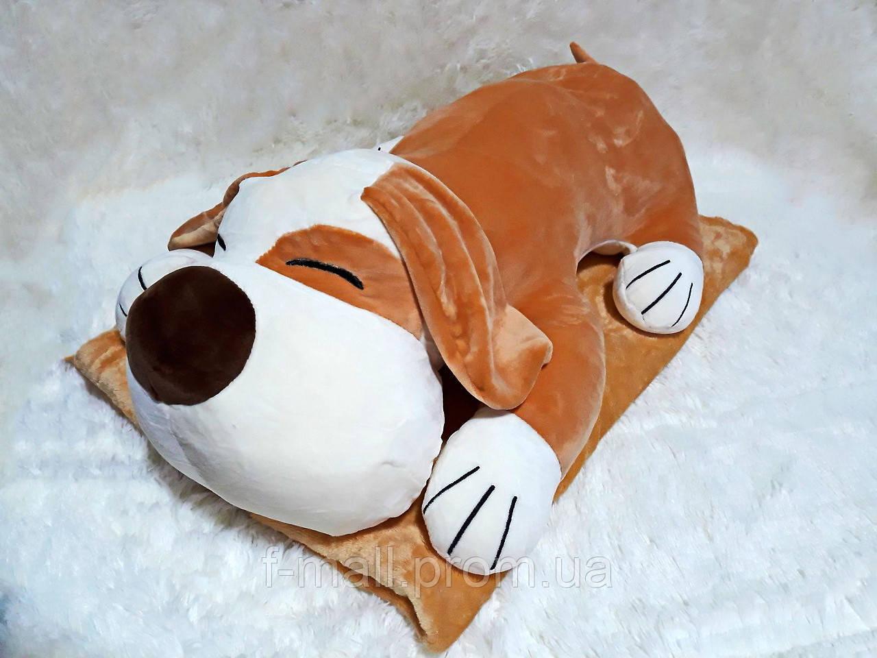 Плед - мягкая игрушка 3 в 1  Собака бежевая