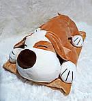 Плед - мягкая игрушка 3 в 1  Собака бежевая, фото 4