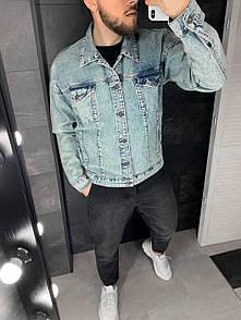 Мужская Джинсовая Куртка голубая XL