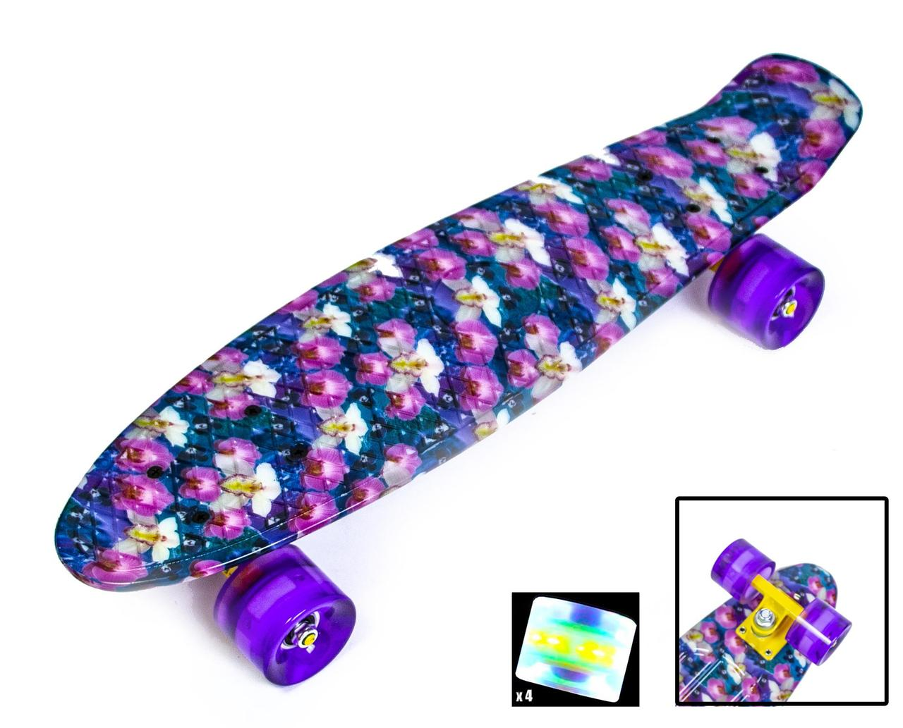 """Пенни борд скейт со светящимися колесами 22"""" принт Орхидея"""
