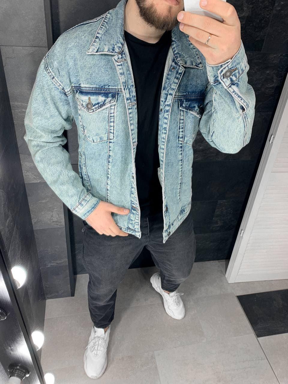 Джинсовая Мужская Куртка голубая