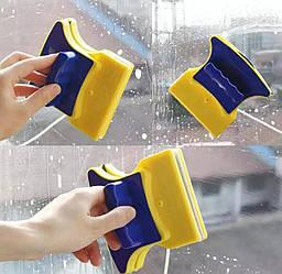Магнитная щётка для двухстороннего мытья окон Double-Sided Glass Cleane